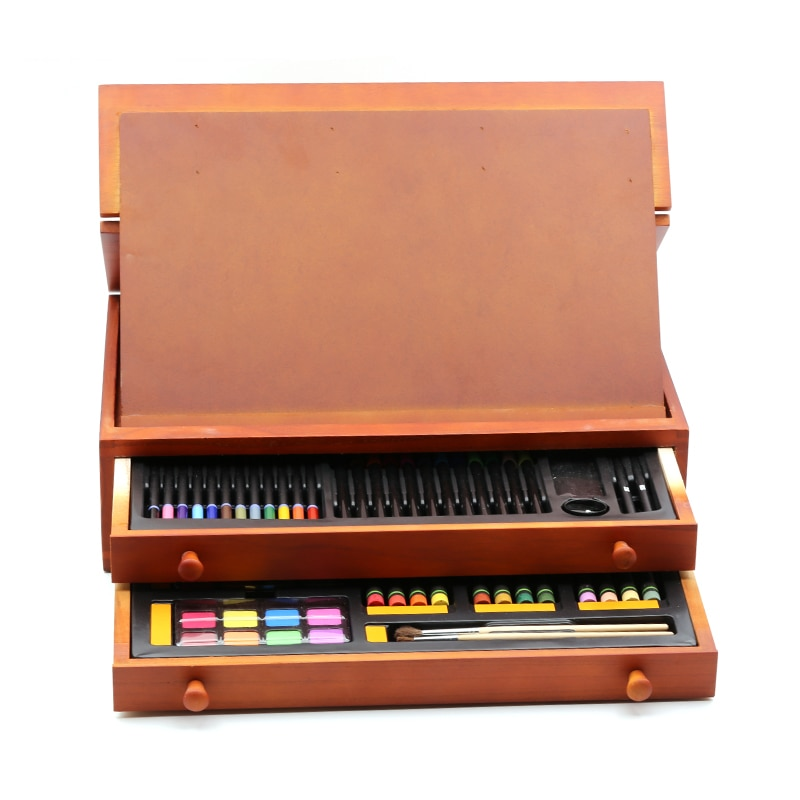 Simbalion pintura Doble capa caja de madera traje niños pintura grupo acuarela pluma color plomo regalo de pintura al óleo caja