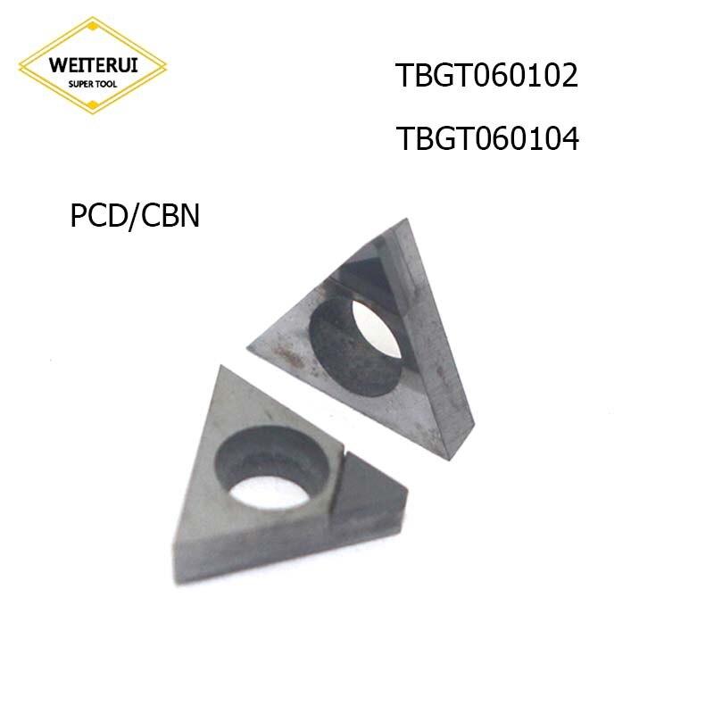 2Pcs TBGT060102 TBGT060104 TBGT 060102 TBGT 060104 PCD CBN Diamond Inserts Blade External Turning Tool Lathe Tool For CNC