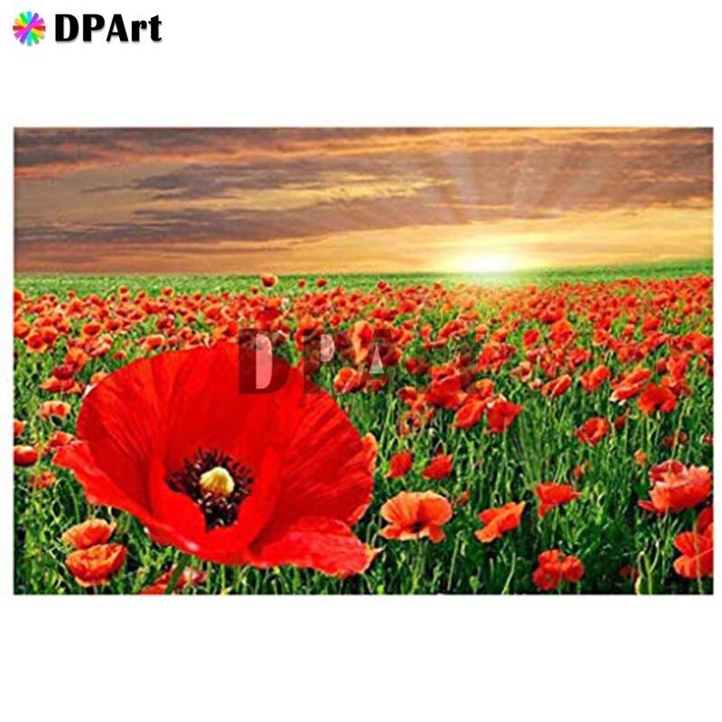 Diamante pintura 5D completa/cuadrado/Ronda taladro rojo flor de la amapola diamante pintura de bordado Cruz puntada, imagen con mosaico M853