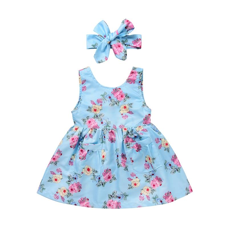 2017 Baby Girls Summer Dress Sleeveless Back Zipper Boho Floral Sundress +Headband 2pcs Kids Vestido Children Clothes