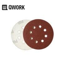 """Qwork 1 pc 5 """"(125mm) 직경 라운드 후크 및 루프 샌드페이퍼 디스크 8 홀 연마 용 샌더 용 연마 용지 시트 목재 금속 및 기타"""