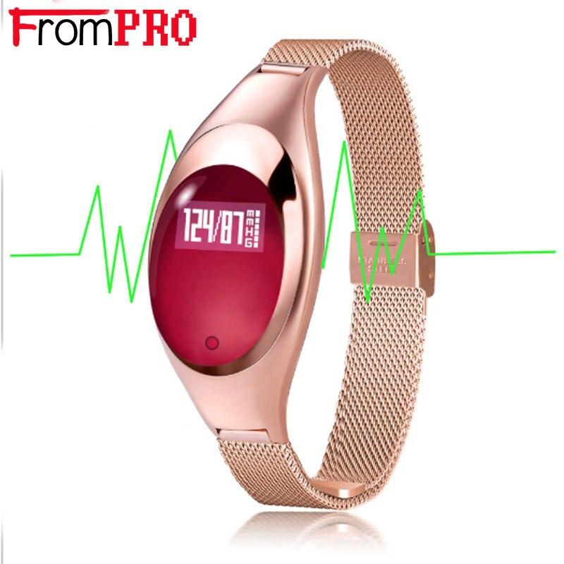 FROMPRO נשים אופנה להקת Z18 חכם צמיד לחץ דם קצב לב צג מד צעדים כושר גשש שעון עבור אנדרואיד IOS