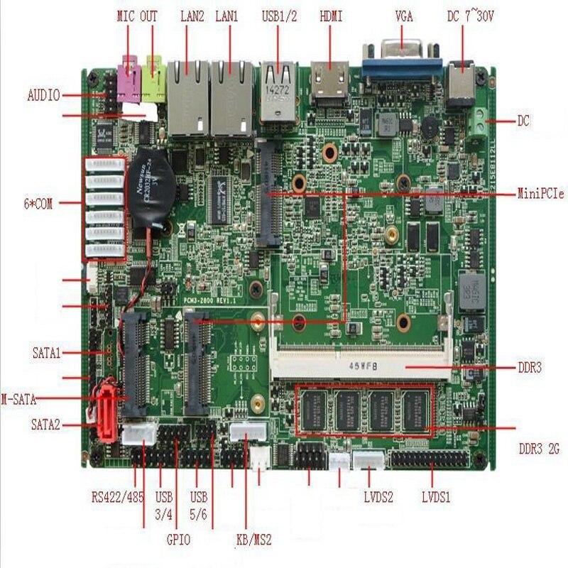 2018 Barato NM10 N2800 chipset onboard processador 2 4xlan 2g ram Super Motherboard Industrial