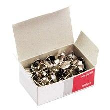 100 unids/caja de Metal Thumbtack Bulletin Material Escolar corcho tablero Agenda Plan papel fijo empuje aguja Pins Oficina suministros de encuadernación