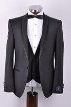 2017 hot sale Black slim fitted Groom wear wedding suit for men include(jacket+pants+tie)/smoking suits/bridregroom tuxedos