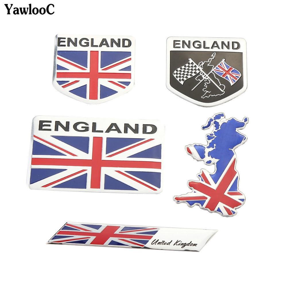 De aleación de aluminio Reino Unido Bandera Nacional Inglaterra emblema para carrocería de coche 3D etiqueta engomada del automóvil Calcomanía para motocicletas Exterior Accesorios de decoración