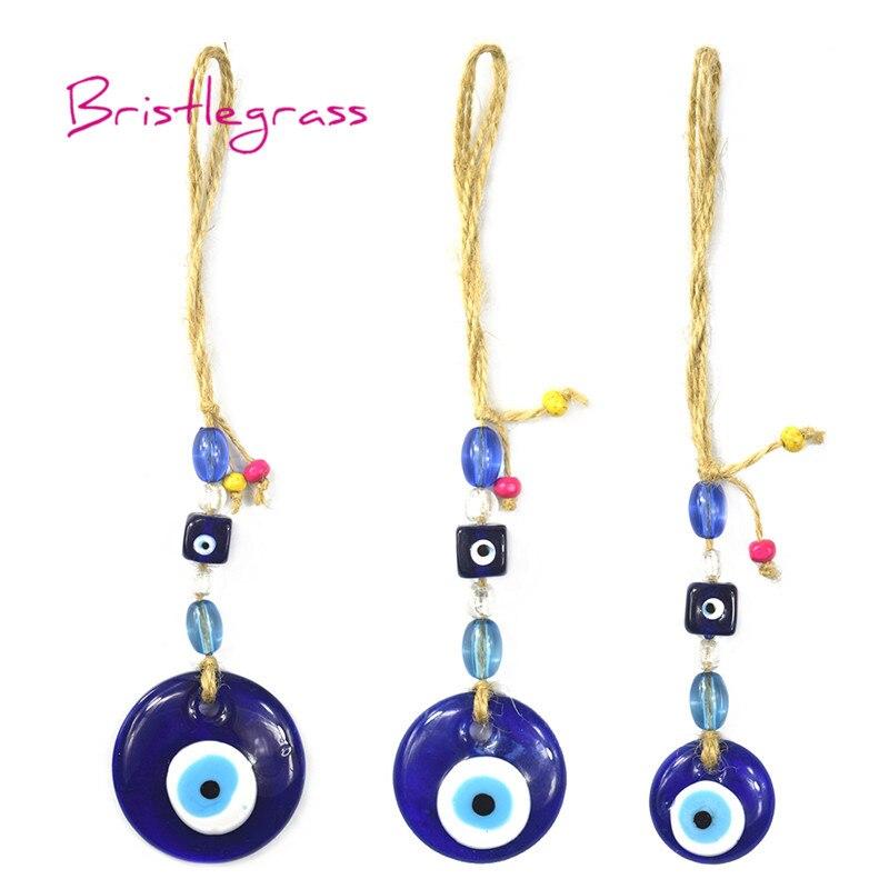BRISTLEGRASS azul turco mal de ojo de cristal amuleto afortunado encanto coche colgante de pared péndulo bendición protección arte regalo Decoración