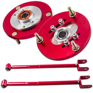 For BMW E36 1992-2005 Rear Adjustable Lower Camber Plates Kit Control Arms Rocker Arm Swing Bar  M3 318i 328ci  red