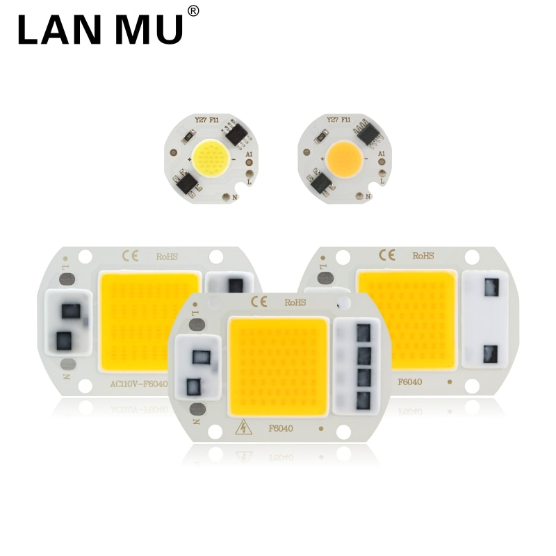 [mingben] 5pcs led cob chip 18w 15w 12w 9w 7w 5w 3w ac 220v smart ic light high lumen chip for bulb diy led spotlight light bead LED COB Chip 10W 20W 30W 50W 220V Smart IC No Need Driver 3W 5W 7W 9W LED Bulb Lamp for Flood Light Spotlight Diy Lighting