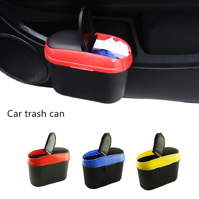 Mini cubo de basura de coche, caja de almacenamiento de Cubo de basura de suspensión, cubo de basura de doble apertura para coche, accesorios de Interior de coche, guantera