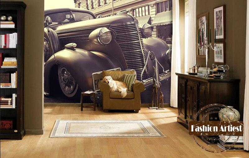 Papel pintado 3d personalizado mural clásico vintage coche exposición de automóviles tv sofá dormitorio Sala café bar restaurante Ajuste de pared