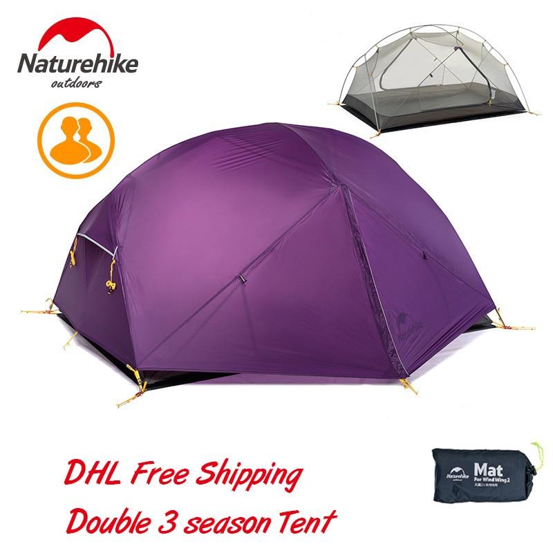 Naturehike Mongar 2 Persoon 3 Seizoen Ultralight Camping Tent 20D Siliconen Fabic Double Layer Waterdichte Regendicht Tent Met Mat