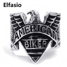Hommes américain aigle moto argent noir en acier inoxydable Biker anneau mode bijoux taille 8-13