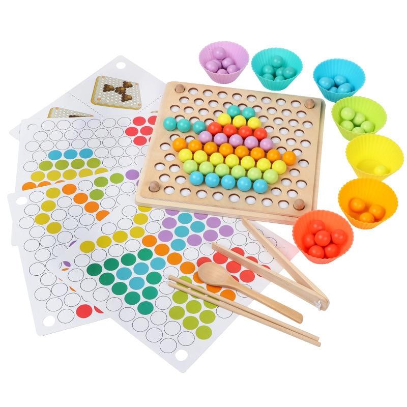 ألعاب مونتيسوري الخشبية للأطفال ، دليل ، تدريب الدماغ ، مشبك خرز ، لوحة ألغاز ، لعبة رياضيات ، تعليم مبكر للأطفال