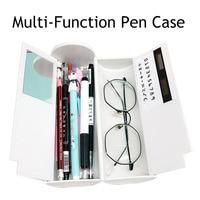NEW Kawaii Pencil Case Double Layer Pen Box With Mirror Calculator Whiteboard Pen Wiper For School Supplies Cosmetic case etui