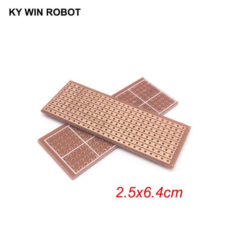 2pcs/lot DIY 2.5x6.4 2.5*6.4CM Prototype Paper PCB Universal Experiment Matrix Circuit Board Single Row Continuous Hole 25x64mm
