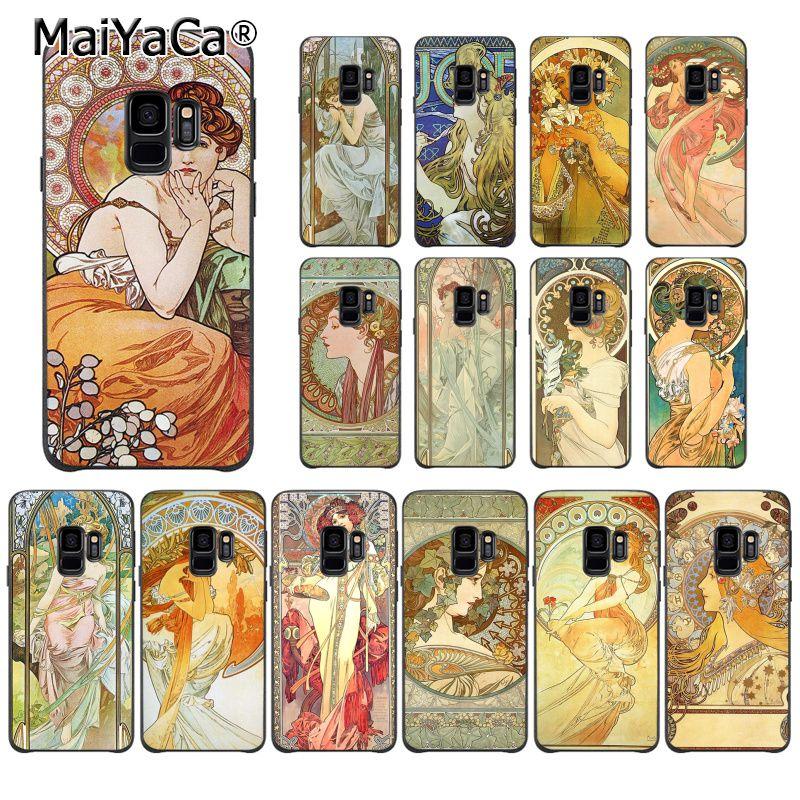 MaiYaCa art poster ALPHONSE MUCHA Slim DIY Painted Phone Case for Samsung Galaxy S9 S10 S10E S6 S7 S8 S9 S9Plus S5  S20