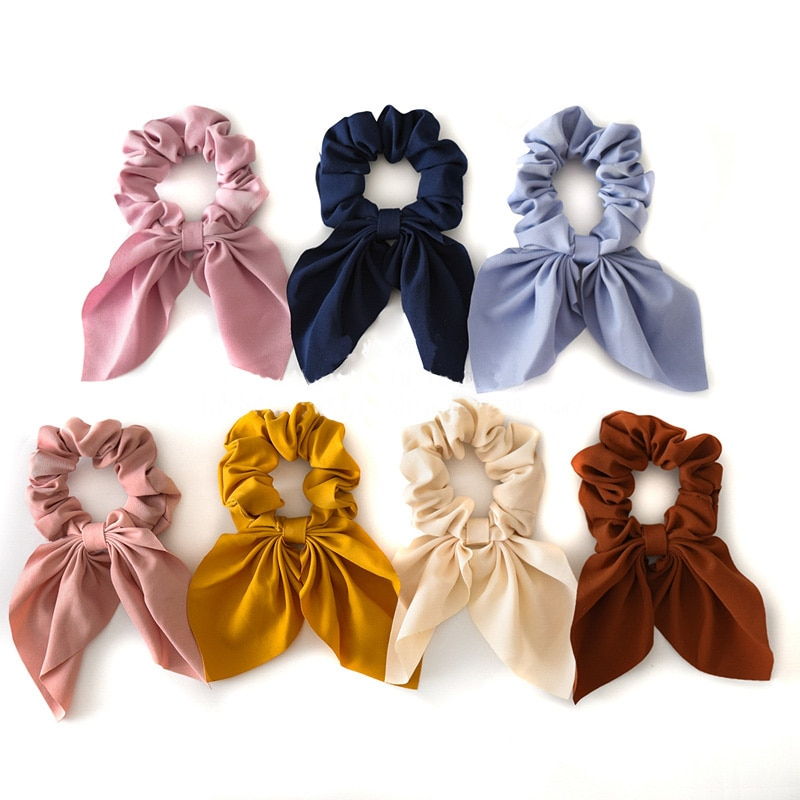 2020 New Girls Chiffon Bowknot Silk Hair Bow Scrunchies Women Ponytail Holder Hair Tie Hair Rope Rubber Bands Hair Accessories
