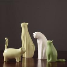 Cute cat ceramic abstract art decorative ornaments sculpture Fashion Cat Crafts Statue Decoration