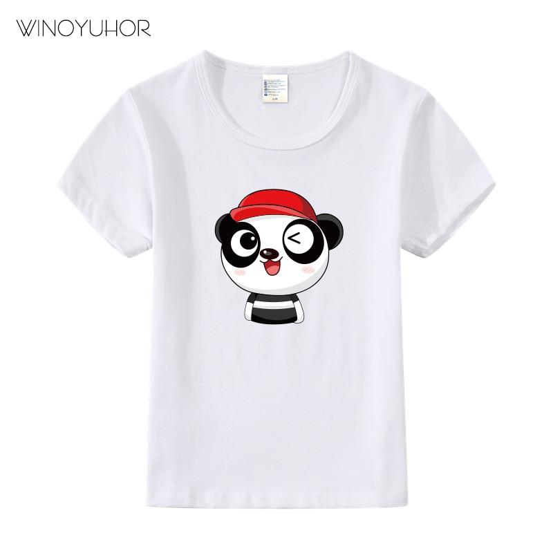 Panda Print Kids Tshirt Boy Girl T Shirt Children Toddler Clothes Summer Funny Cartoon Top Tees