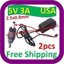 Pulg-adaptateur chargeur ca 5V 3A   2 pièces, universel, us 2.5x0.8mm, prise ue, pour tablette PC Ampe A10