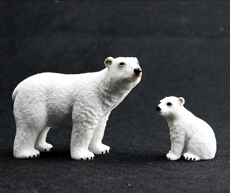 Mundo de los animales de PVC oso Polar con bebé modelo starric figuras de acción de plástico juguetes regalo para niños juguete de educación temprana