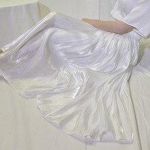 Soie Satin jupe longue femme 2019 décontracté jupe plissée Style coréen mousseline de soie plage été jupes femmes avec taille élastique