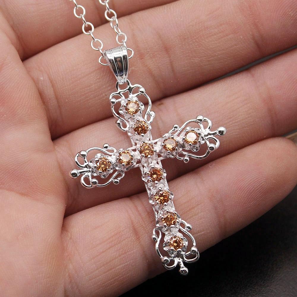 Cruz de Dios colgantes de collar de plata de la Color boda fiesta colgantes para niña naranja EHBK-035