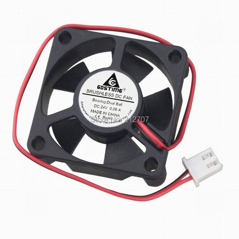 2Pcs Gdstime DC 24V 35x35x10mm 2 Pin Dual Ball Bearing 35mm Mini Brushless Small Cooling Fan