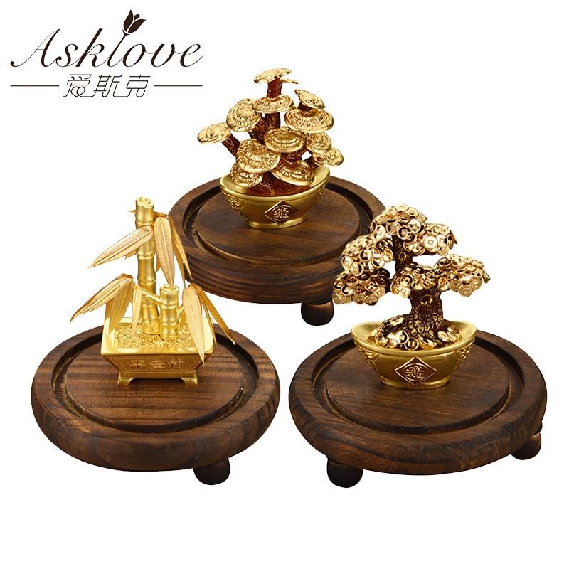 Hoja de oro de 24K, árbol del dinero, Feng shui, bonsái, Planta Artificial, ornamento, árbol de la Fortuna, regalos de lujo de negocios, decoración para el hogar, celebración