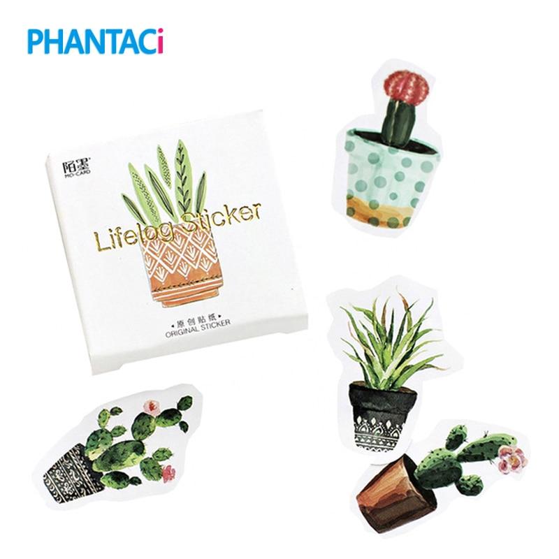 45 pcs/lot Creative Mini Paper Cactus Lifelog Sticker Flakes for Decoration DIY Album Diary Scrapbook Label Stationery Stickers