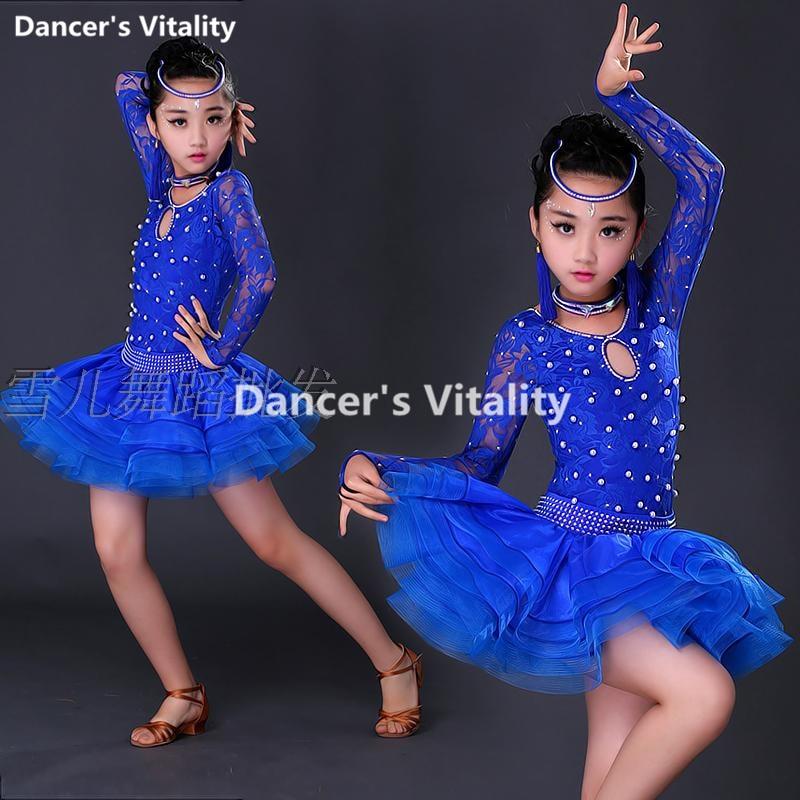 Nuevo vestido de baile latino con mangas Trajes de baile latino para chicas de estilo profesional para chicas 3 uds.