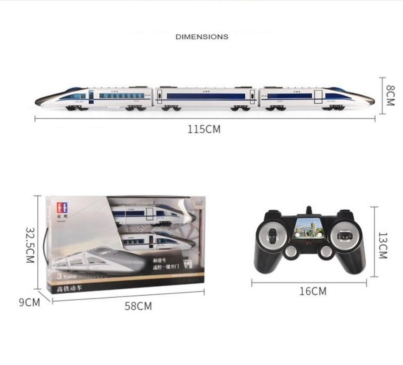 114cm large new kid play game RC toy 2.4G remote control RC High speed Railway train subway with 3 carriages one key open door enlarge