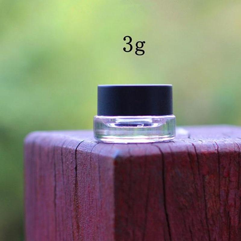 3g clear glass cream jar with black plastic lid, 3 gram cosmetic jar,packing for sample , 3g mini glass eye cream bott F20171384