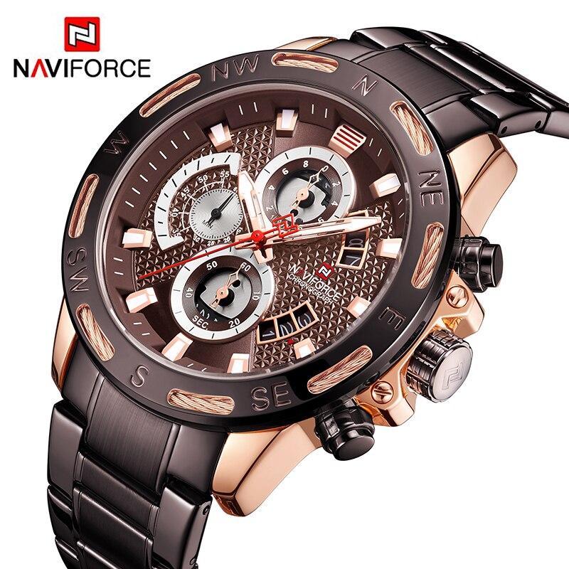 Naviforce para Homens Marca de Topo Relógios do Esporte da Forma dos Homens à Prova Relógio de Quartzo Relógio de Pulso Jovens Relógios Homens Água Masculino Relógio d'