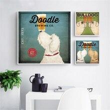 Duvar Sanatı Amerika Vintage Posteri Çift Köpek Labrador Kahve Vin Duvar Resimleri için Oturma Odası Çocuk Odası Dekor Cuarods Decoracion