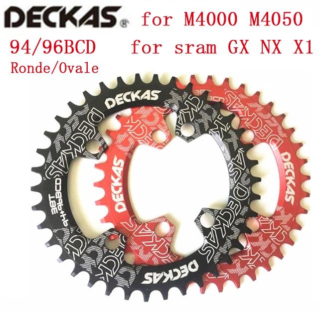 Deckas redondo/Oval 94 + 96mm 94 / 96BCD 32/34/36/38 T de montaña MTB plato de bicicleta para shimano ALIVIO M4000 M4050 NX GX X1 manivela