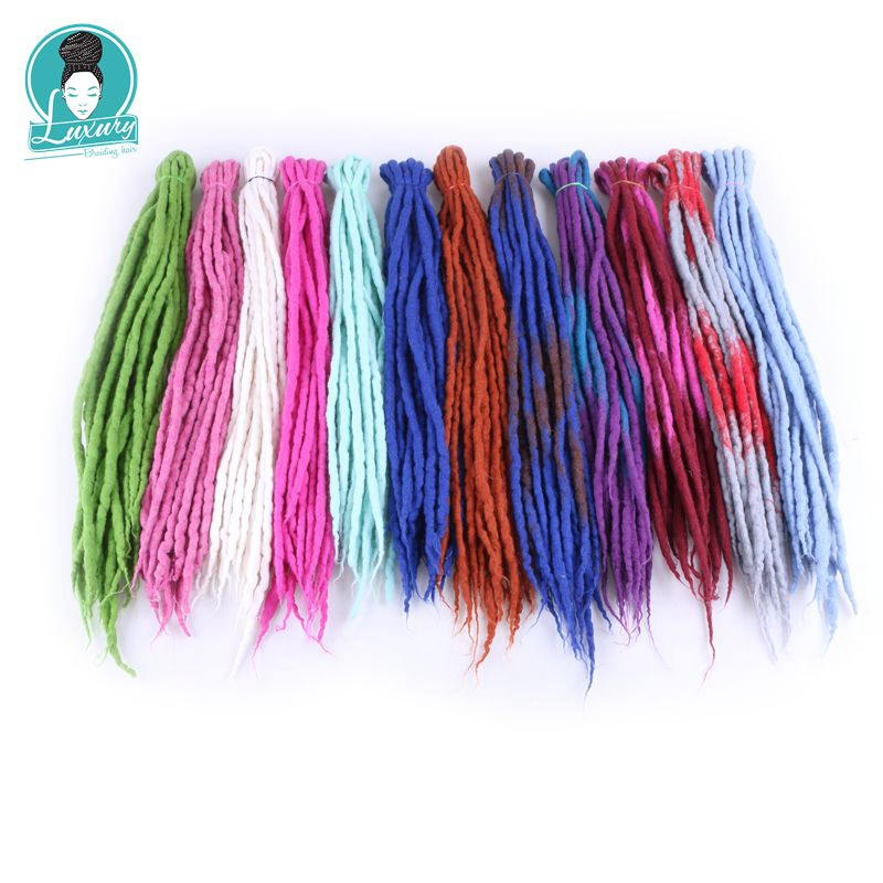 Luxury For Braiding 10strands 90cm-120cm long Nepal felted wool synthetic dreadlocks crochet braids hair for kids and adult