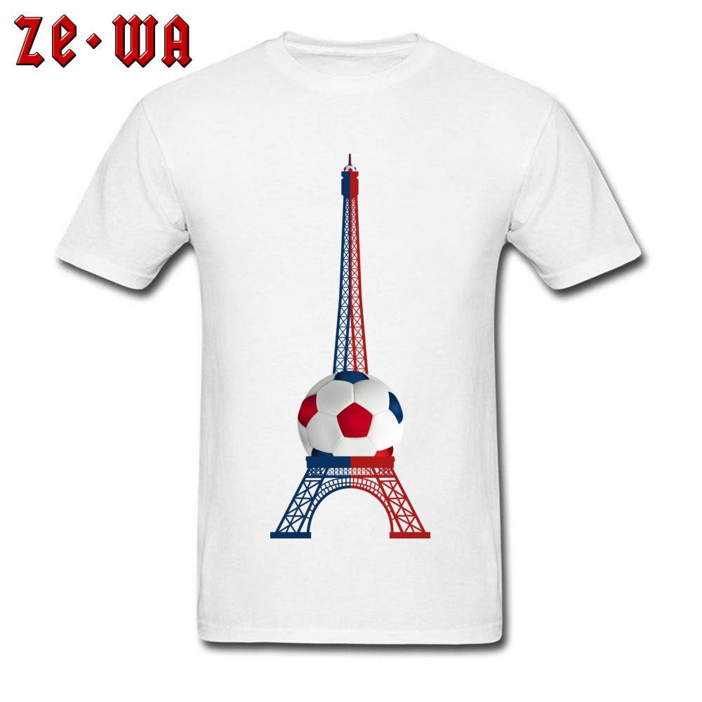 Camiseta 3D para hombre, camisetas de futbolista, camisetas de estampado de Torre Eiffel, camiseta blanca de tela de algodón ajustada, ropa de regalo del Día del Padre barata personalizada