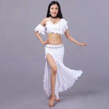 2019 Women Belly Dance Costume Oriental Dancing Clothing for Women Belly Dancewear Milk Silk +Modal Skirt Prom Dresses 2pcs/set