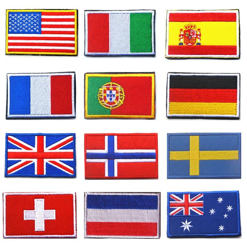 Insignia del Ejército de la bandera del país bordada 3D insignias militares tácticas tela de tela brazal de combate insignias de la bandera del mundo