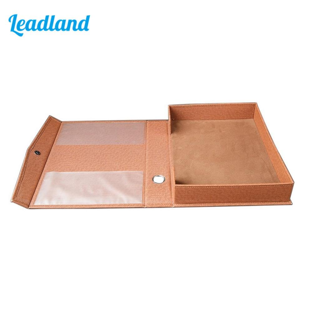 A4 PU Leather File Folder Document Paper Box Organizer Office Gift File Desktop Organizer