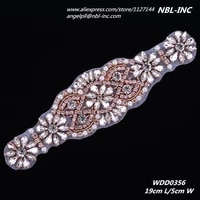 30pcswholesale hand beaded sewing crystal rhinestone applique iron on for wedding dresses sash wdd0356