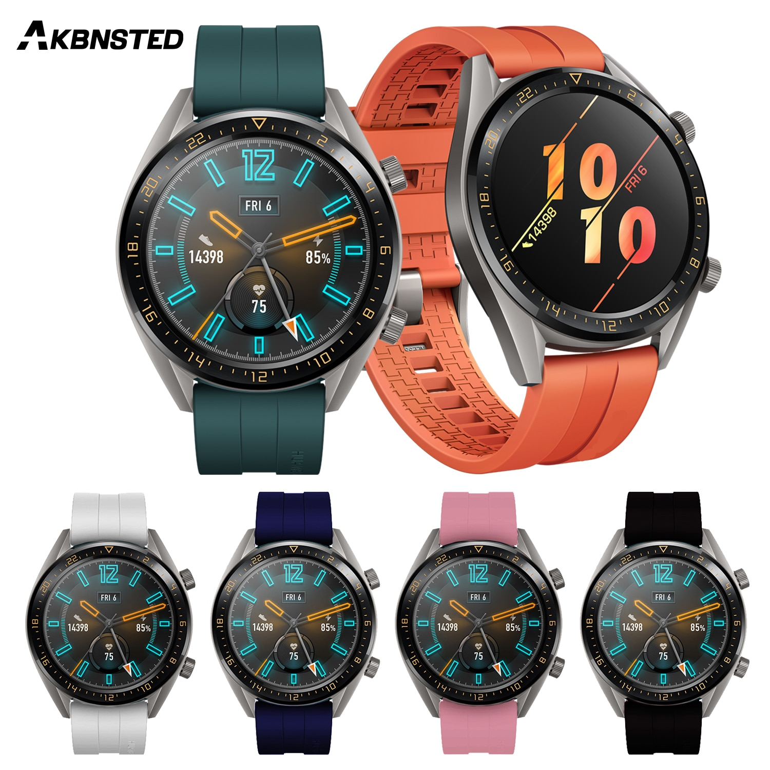 AKBNSTED 22mm Replacement Soft Silicone Watch Strap For Huami Amazfit Stratos 3/Huawei Watch GT2 Wristband Smart Sports Watch часы amazfit stratos smart sports watch 2 a1619 черный
