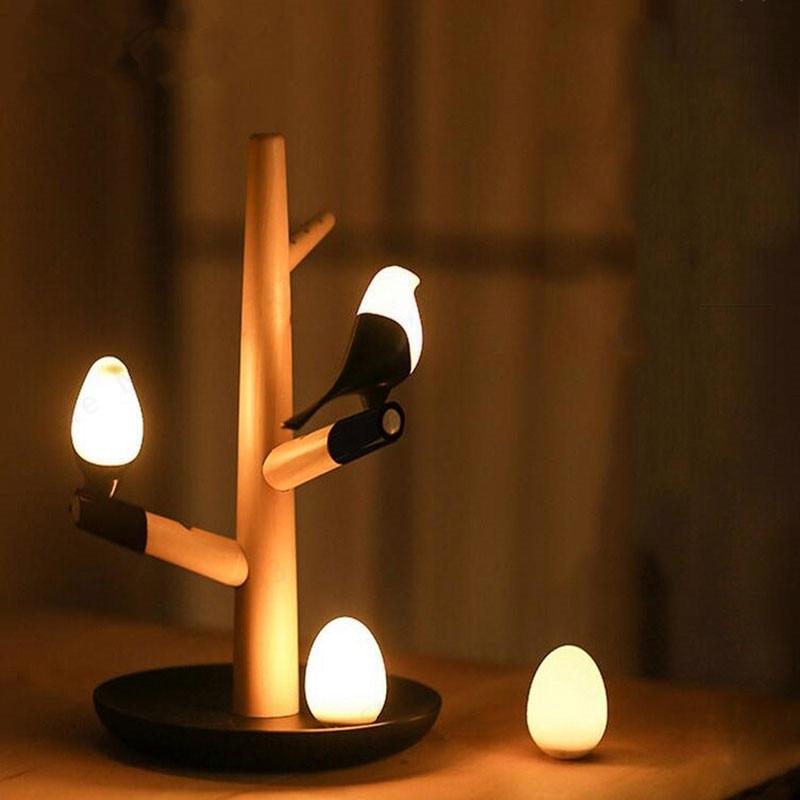 GZMJ suerte estilo chino Bird LED noche lámpara de mesa de madera de Base inteligente Sensor de movimiento Luminaria habitación dormitorio escritorio Luz