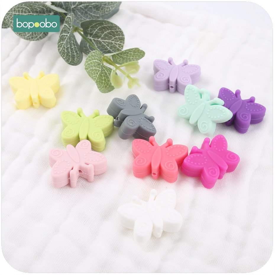 AliExpress - Bopoobo 10pc Silicone Butterfly Teether For Teething DIY Silicone Beads BPA Free Silicone Flower Beads For Baby Teether