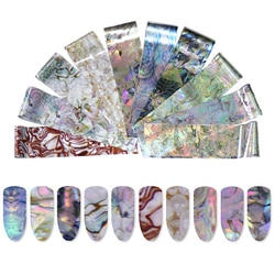 1 caixa 10 pçs colorido mármore brilhando pedra pedra pedra folha de arte do prego adesivos transferência cola lindo arte do prego decorações