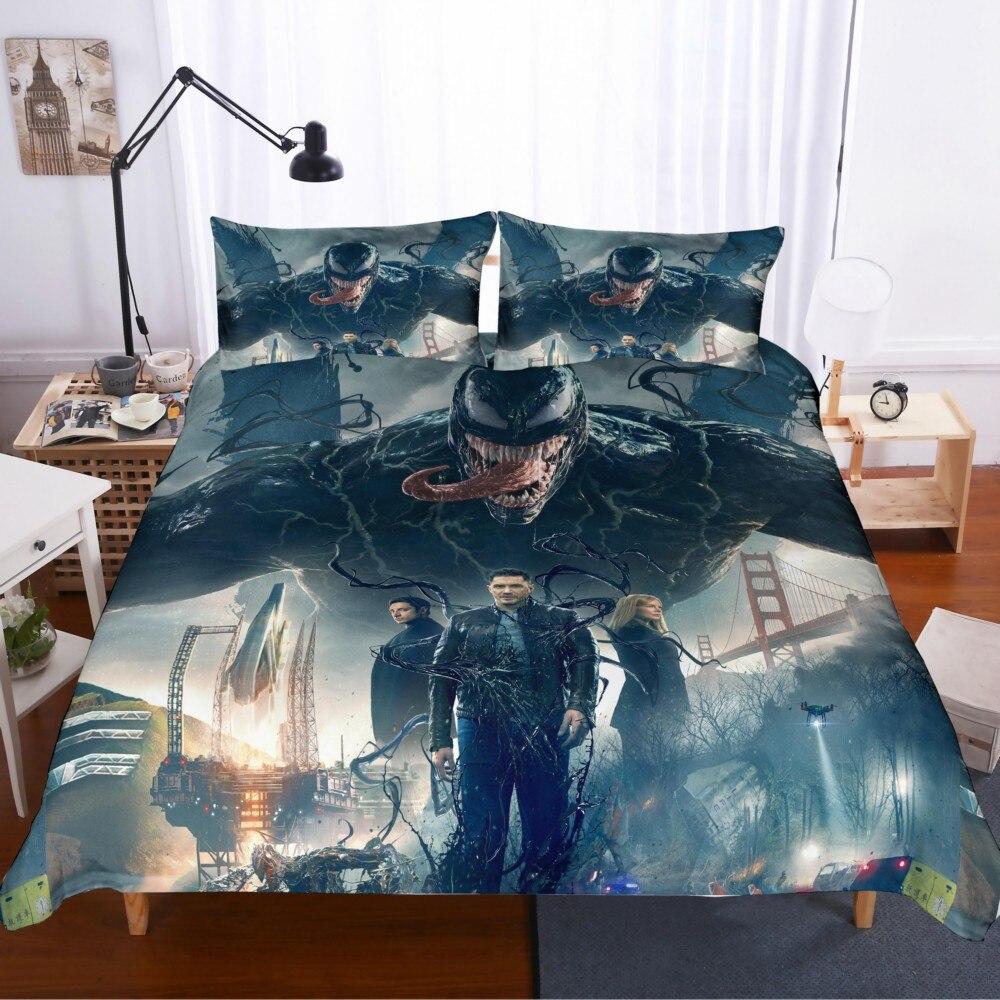 Juego de cama en 3D, juego de fundas de edredón con diseño impreso en 3D, tamaño King Queen, envío directo de 2/3 Uds. Película venom