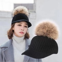 hangyunxuanhao 2018 new real fur pompom cap for women spring autumn woman baseball cap snapback solid color striped caps