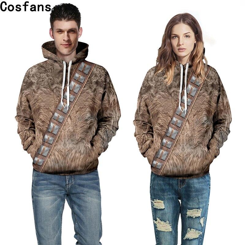 Star wars eu sou chewie chewbacca peludo traje com capuz jaqueta cosplay camisola com capuz capa 3d impressão moletom